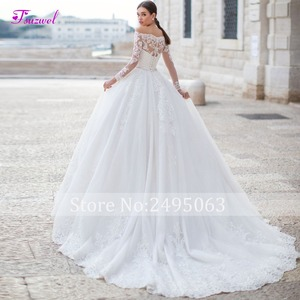 Image 2 - Fsuzwel Gorgeous Appliques Long Sleeve Boat Neck A Line Wedding Dress 2020 Luxury Sashes Beaded Princess Wedding Gowns Plus Size