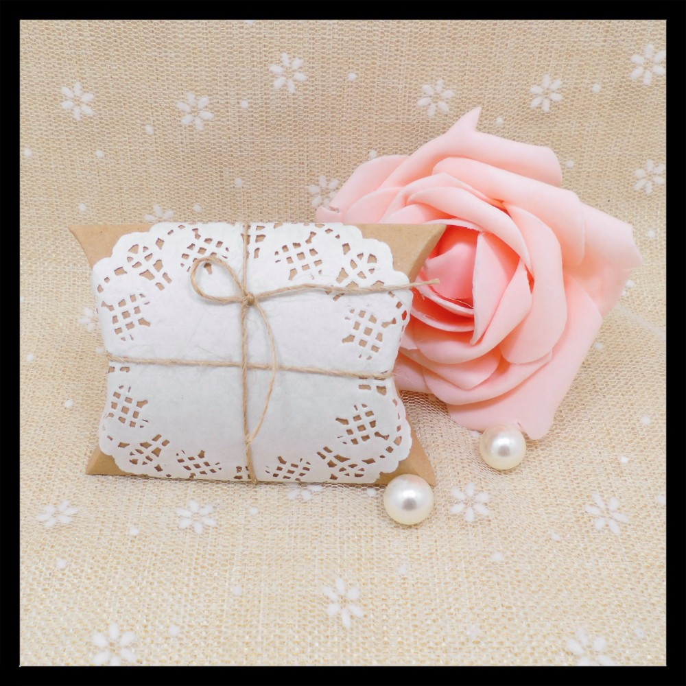 Ctrue 12pcs Kraft Pillow Candy Box Wedding Favor Gift Box Decoupage ...