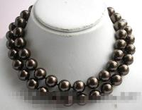 song voge gem nanJ1291 round chocolate south sea shell pearl necklace