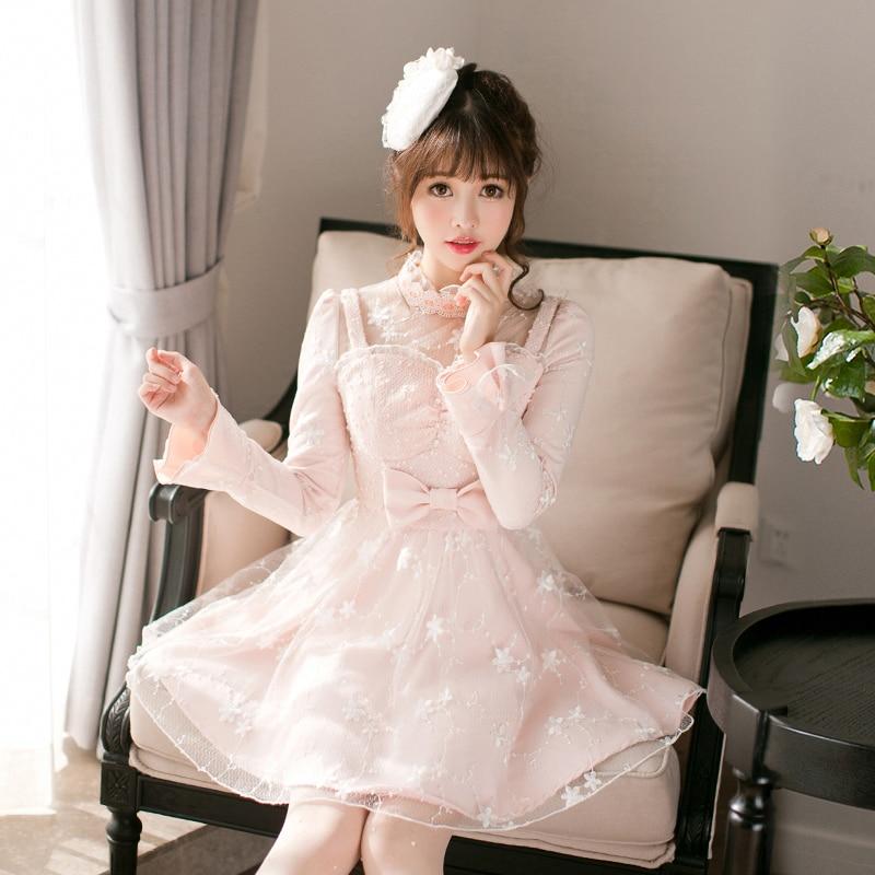 Princess sweet lolita dress Candy rain fall original Japanese bow long sleeved lace collar sweet princess dress C22CD7209