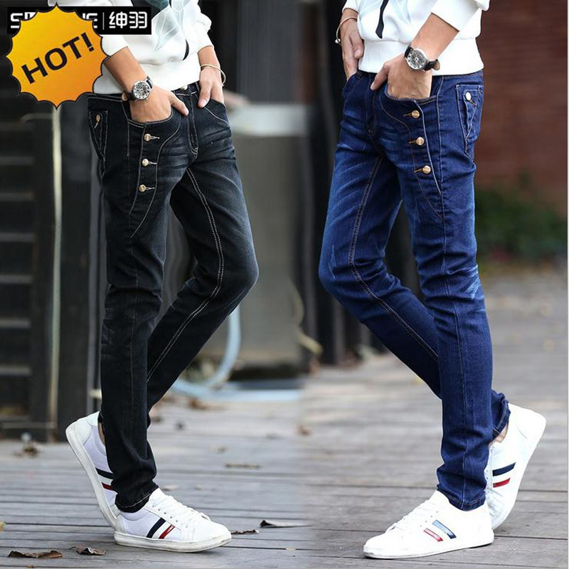Fashion Teenagers Stretch Slim Fit Black And Blue Button Designers Casual Jeans Boys Hip Hop City Streetwear Men Pencil Pants