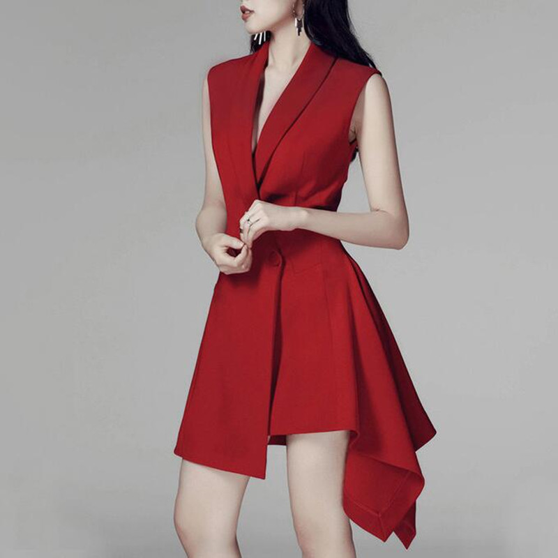 Long Blazer Female Jacket Sleeveless Irregular Hem Elegant Women's Coats Autumn Fashion Red Suit Blazer Femme Ladies Outerwear