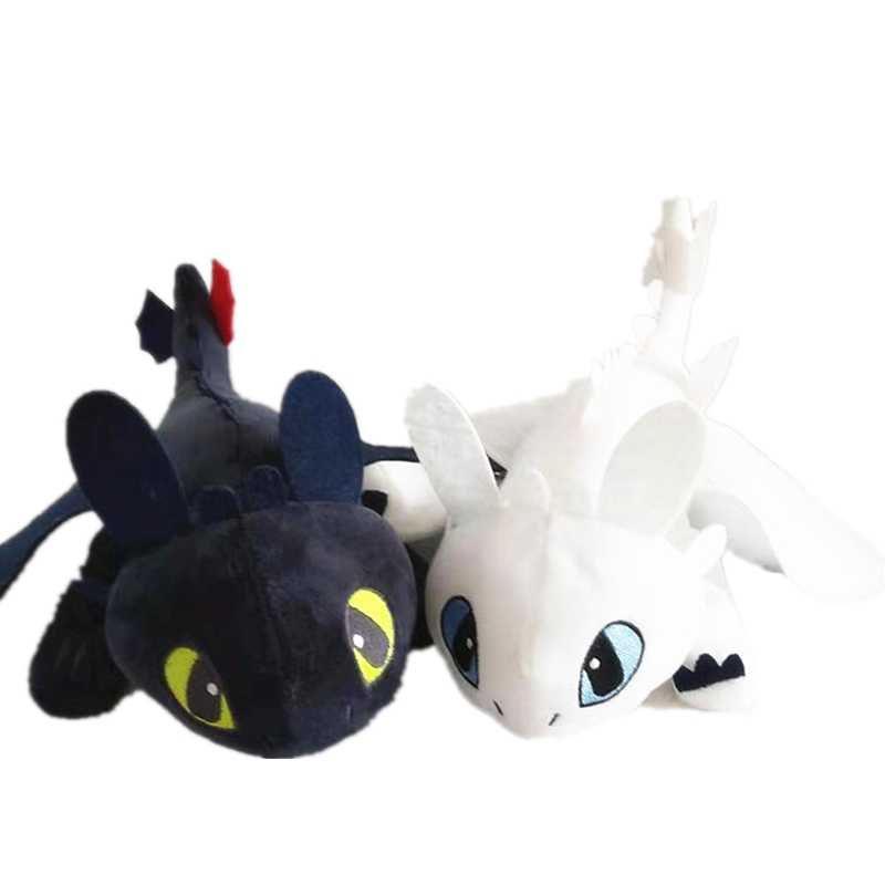 "9 ""23 cm Branco 3 Desdentado How To Train Your Dragon Plush Toys boneca Fúria Fúria Da Noite Luz Branca dragão Macio Stuffed Animal Boneca"
