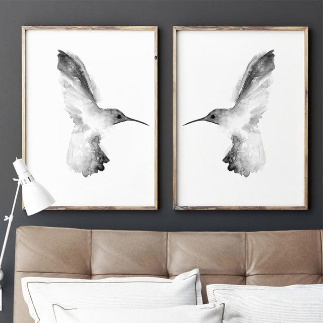 Hummingbird Painting Grey Colibri Drawing Abstract Minimalist Bird Art Print Canvas Hummingbirds Home Decor