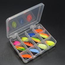 WLDSLURE 12 pièces mixte 3g/4.5g/5g boîte de pêche en métal appât cuillère leurre ensemble truite leurre matériel de pêche