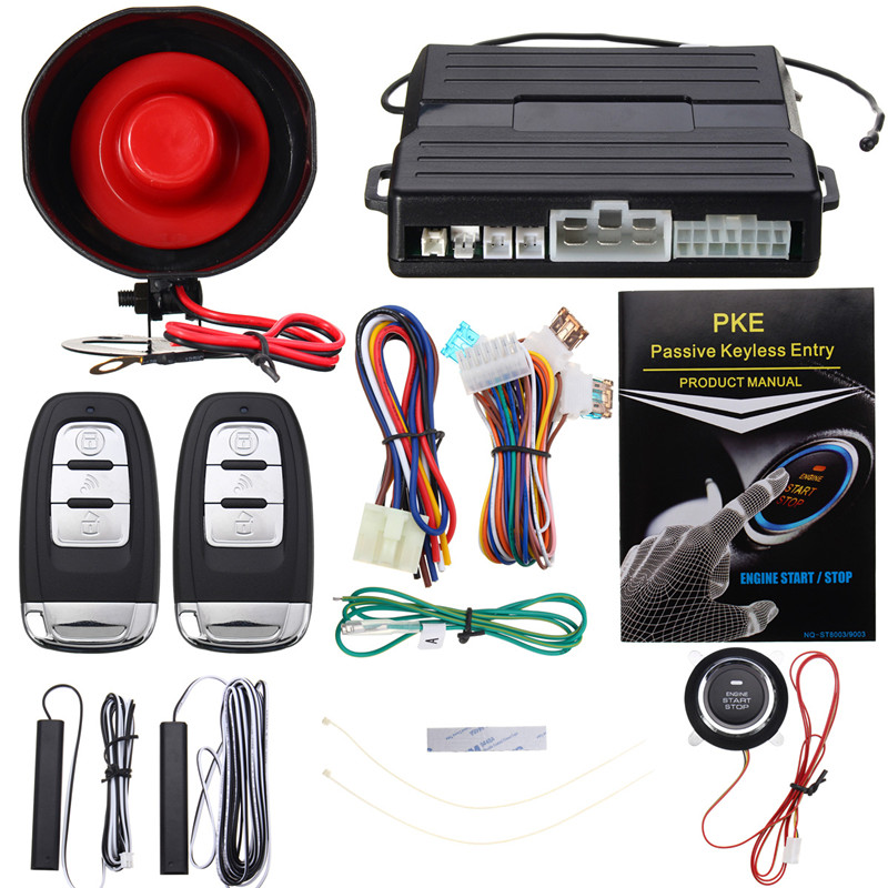 KROAK Hopping Code PKE Car Alarm System Keyless Entry Remote Start Push Button Start Stop Remote Engine Start universal pke car keyless entry alarm system with remote engine start push start stop button trunk release