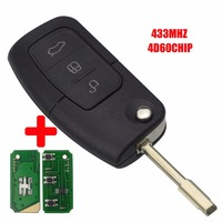 Jingyuqin 3 Button Flip Folding Remote Smart Car Key 433Mhz For Ford Focus Mondeo Galaxy Fiesta