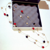 TYME 2018 Red Black White Long Pearl Necklaces For Women Fashion Big Necklace Sweater High Quality