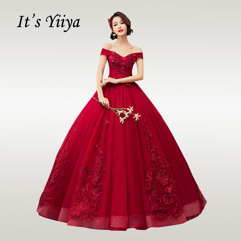 It's YiiYa Wedding Dress Elegant Boat Neck Burgundy Wedding Dresses Embroidery Party Gowns Floor Length Vestido De Novia CH002