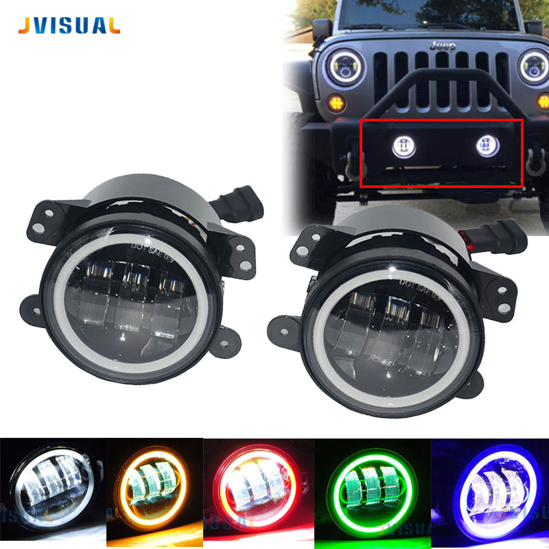 2pcs LED 4 inch With Halo DRL Lamp Fog Light 30W For 2007 2014 Jeep Wrangler