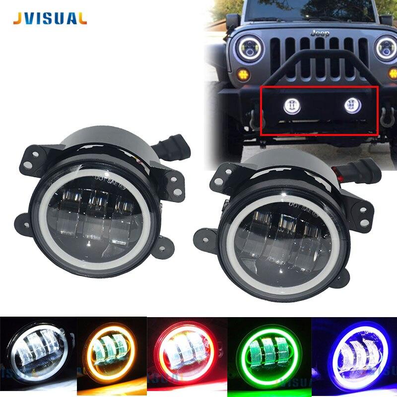 2pcs LED 4 inch With Halo DRL Lamp Fog Light 30W For 2007~2014 Jeep Wrangler JK LJ Rubicon Sahara Dodge Journey Chrysler
