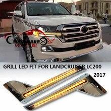 Citycarauto LED chormed спереди решетки радиатора планки LED с DRL + Turnning характеристика подходит для Toyota Land Cruiser LC200 2016 2017
