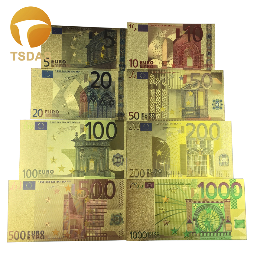 Colorful 5- 1 Million Euro Currency Souvenir Gold Foil Plated Euro Banknotes Collectible For Gift