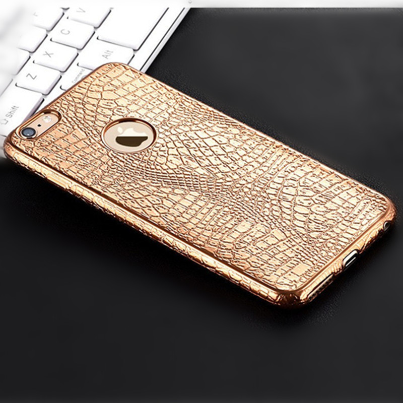 Luxe 3D Krokodil Snake Print Plating Case Voor iPhone 7 6 6s Plus 5 S 5S SE Ultra Dunne Zachte TPU Siliconen telefoon Achterkant