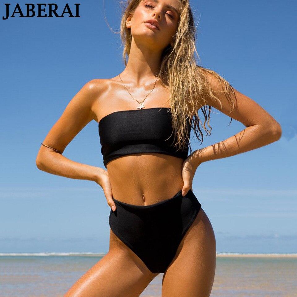 JABERAI push up bikinis 2018 women swimwear bandeau swimsuit black high waist biquini Beachwear bathing suit Maillot De Bain