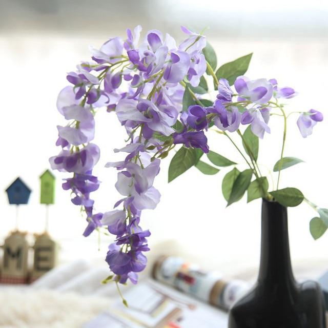 Bunga Buatan Sutra Wisteria Palsu Taman Gantung Tanaman Bunga Vine