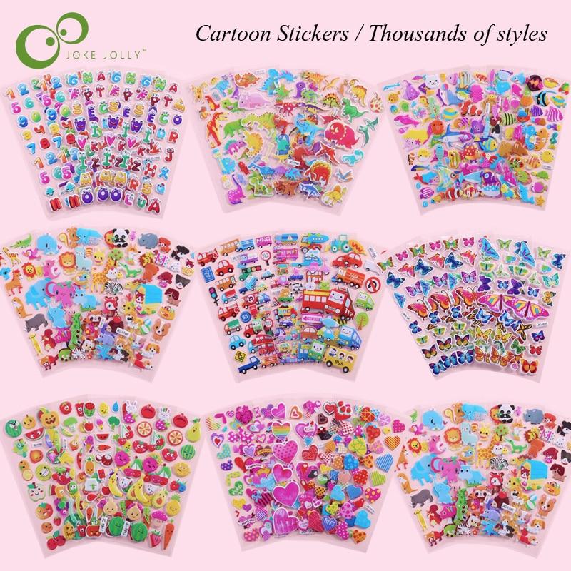10 листов/Lot 3D Пышное пузырчатые наклейки для принцессы из мультфильма для девочек; Автомобили животных из непромокаемой ткани