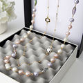 2016 Fashion Vintage Jewelry Simulated Pearl Necklace Long Sweater Chain Necklace For Women X022