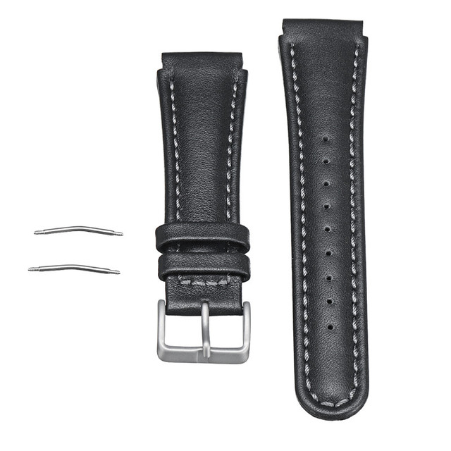 22mm Genuine Leather Watchband Black Wrist Strap Replacement Bracelet With Spring Bars For Suunto X Lander Watch Accessories