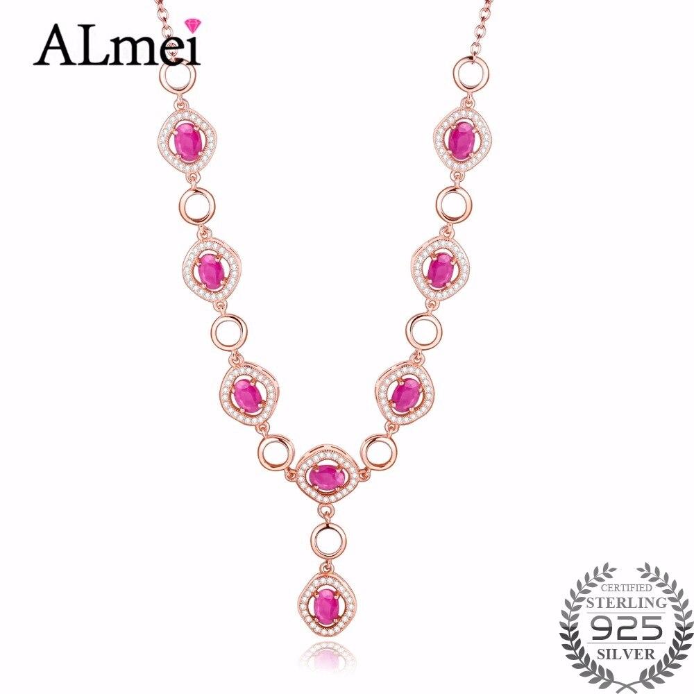 Almei femmes 8 pièces rouge rubis femmes collier cristal bijoux cadeaux argent 925 Rose or couleur chaîne bijoux cadeau boîte gratuite 40% FN025