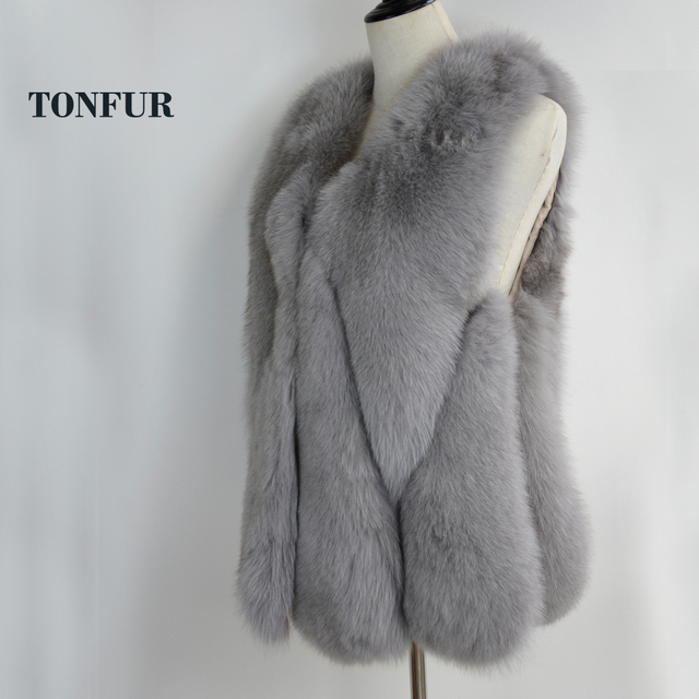 90abc9010e263 Natural Fox Fur Vest 100% Pure Women Real Fox Fur Gilet Genuine Customize Plus  Size Big Discount Fur Waistcoat WSR181