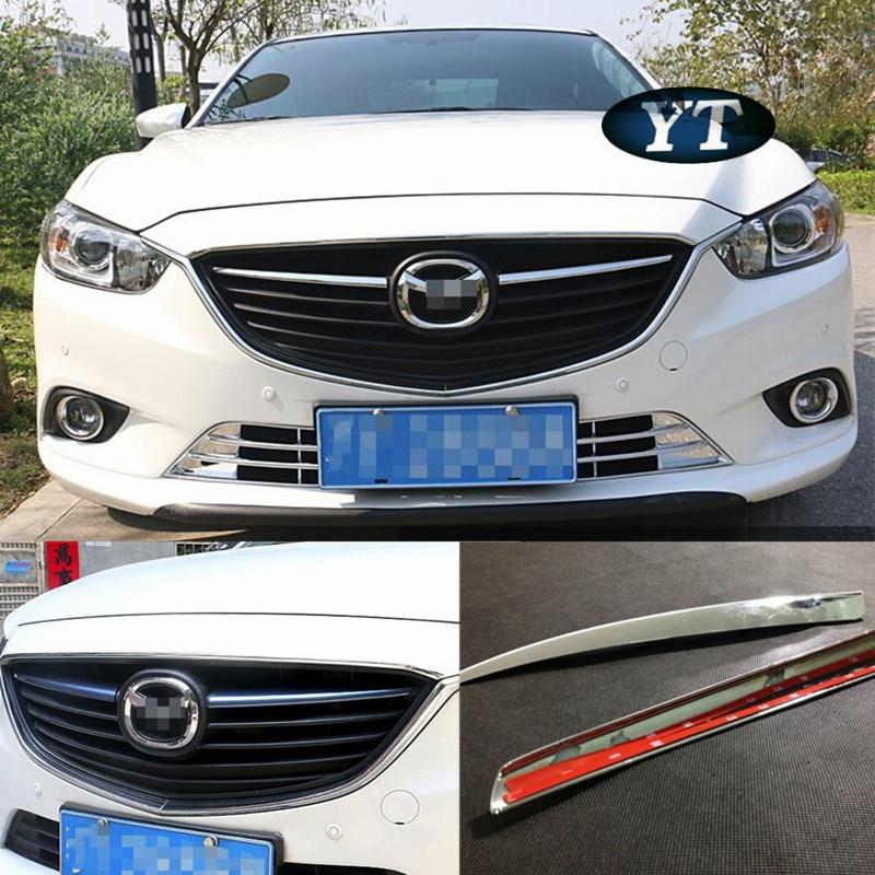 Обрізка передньої решітки для автомобіля, кришка для декоративної решітки для автомобіля Mazda 6 atenza 2014 2015 2016, хром ABS, 2шт / лот