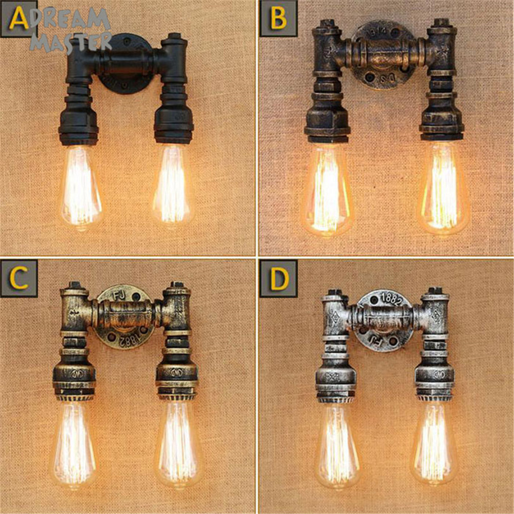 Black brown antique Wall Lamps Sconces Living Room Iron Restaurant Bedroom Decorative Wall Lights Lamparas Home Lighting Fixture