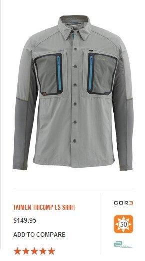 2016 Nowy Simms Mężczyźni Taimen Tricomp LS Koszula Marki  8j8pw