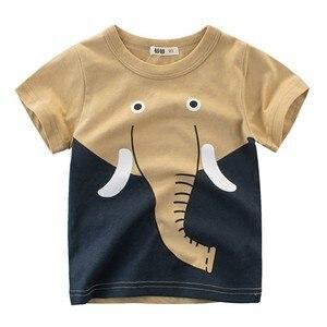 Детская футболка для мальчиков, летняя футболка с коротким рукавом и принтом животных, Детская футболка с изображением слона и Льва, Детские повседневные топы