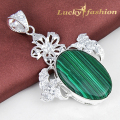 Novel Queen Sparkling Gift Beautiful Oval Shaped Malachite Silver Plated Pendants Jewelry