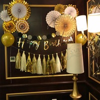 1 Unidades cumpleaños Decoración oro escritura Feliz cumpleaños banner 8 Glitter oro pinwheels partido Ventiladores borla guirnaldas
