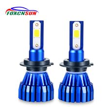 Foxcnsun Auto Led H7 Headlight 9005 HB3 9006 HB4 Led H4 Car Bulb 6500K 4300K COB Chip 50W 8000lm Fan-less H8 H11 H9 All-in-one(China)
