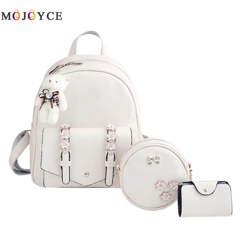 New Backpack Set Women Backpack mochilas mujer 2017 for Teenage Girls PU Leather Women's Shouder bags with Purses