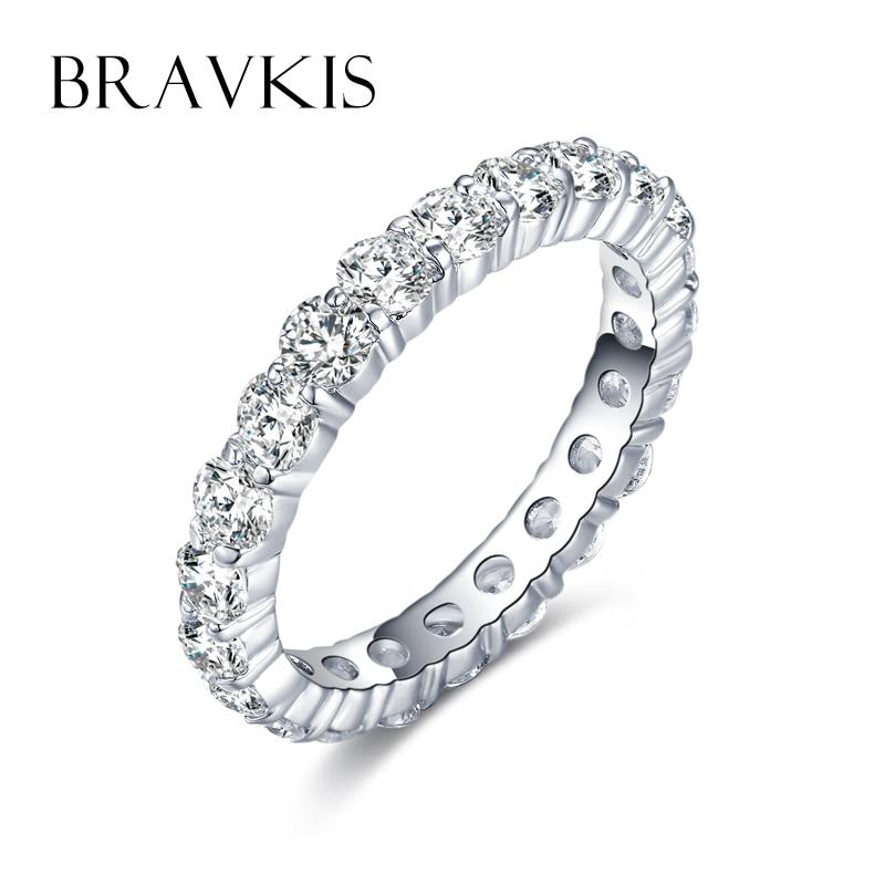 Bandiau Priodas BRAVKIS Cylchoedd Eternity gyda Zirconia ar gyfer - Ffasiwn jewelry