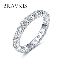 BRAVKIS classic cz diamond pave eternity rings for women bridal wedding band engagement ring alliance marriage jewelry BUR0279