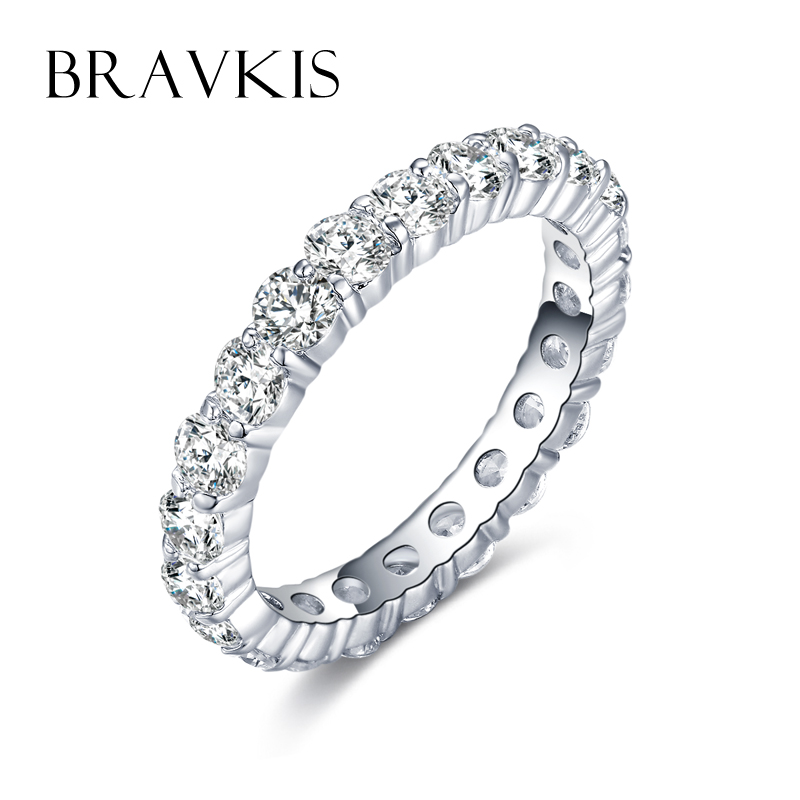 BRAVKIS Wedding Bands Eternity Rings with Zirconia for ...