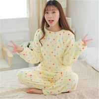 Winter Spring WomenCoral Fluffy Pajamas Animal Cartoon Print Pajama Sets Cotton Rayon Long Sleeve Korean