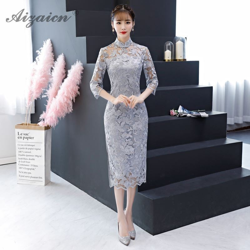 Summer Lace Cheongsam China Modern Chinoise Long Qi Pao Women Traditional Chinese Evening Dress Qipao Robe Orientale Party Gown