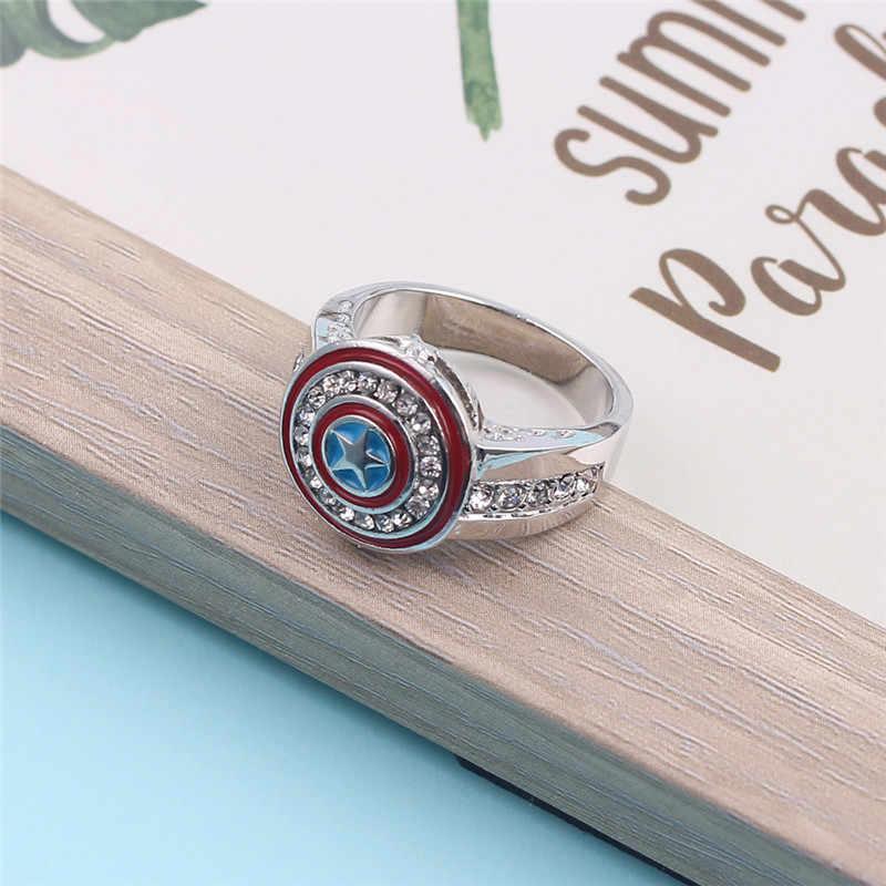 Vintage Star นิ้วมือแหวนภาพยนตร์ Captain America Shield สำหรับ Men White Gold Filled Zircon เครื่องประดับสีแดงแหวนเคลือบ