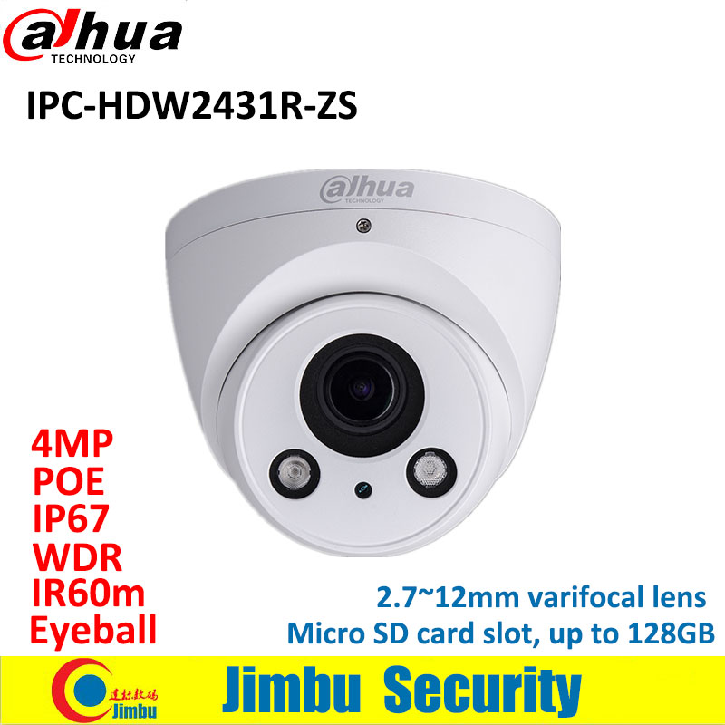 Dadua IP Camera 4MP IPC-HDW2431R-ZS 2.7~12mm varifocal lens Dome WDR H.265 camera IR60m IP67 POE Micro SD card slot h 265 264 ipc lwirdnts400s 4mp ip camera 2 8 12mm varifocal manual zoom lens 4mp ir 30m with sd card slot poe network camera