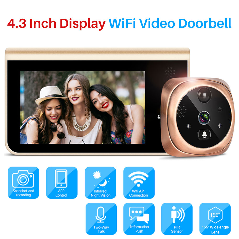 Smart Video Doorbell Wifi 720P Security IP Camera Door Peephole Viewer Motion Detection IR Night Vision Android IOS APP Control new door intercom ip doorbell with 720p camera video phone night vision ir motion detection alarm for ios android wifi doorbell
