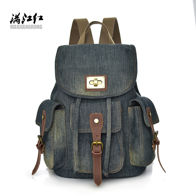 a10d7c2196 2018 vintage jeans backpack fanshionable girls travel bag male s leisure backpack  student backpack-in Backpacks from Luggage   Bags on Aliexpress.com ...