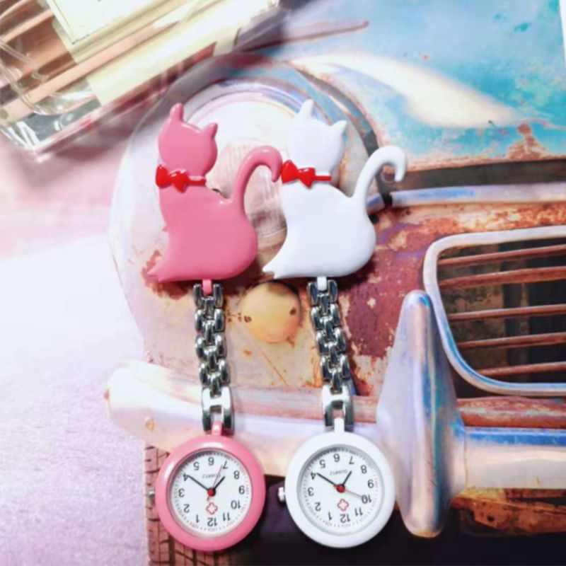 Quartz Watch Cat Cartoon Fashion Pocket Watches Hang Clip Doctor Jewelry Charm Silver Pendant Cute Chest Hanging Supplies