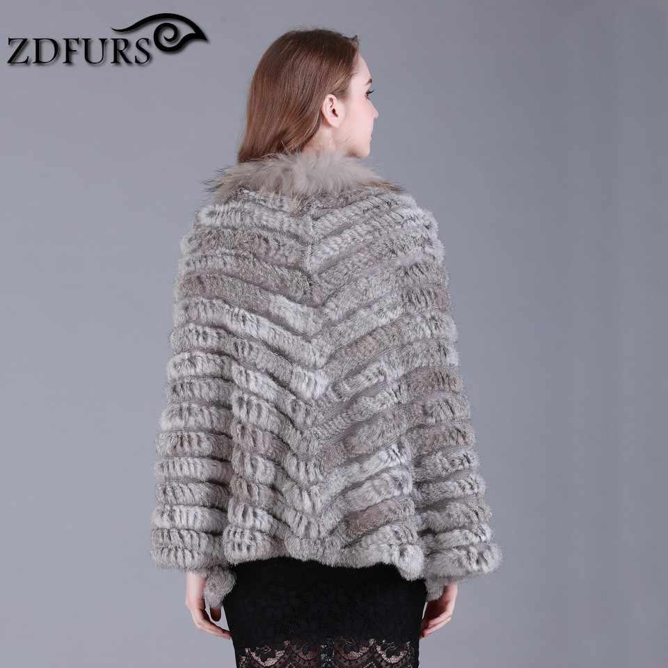 ZDFURS * new fashion reale knited pelliccia di coniglio Scialle poncho rubato scrollata di spalle del capo veste involucro tippet amitto collo di pelliccia di procione