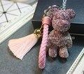 Popobe oso llavero llaveros brillante AB púrpura bolsa de cordón de la borla de cuero brillante de cristal encantos del encanto del monedero de regalo de las mujeres