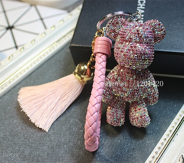 keychains sparkly popobe bear  key ring AB purple crystal leather lanyard tassel sparkly bag charms purse charm women gift