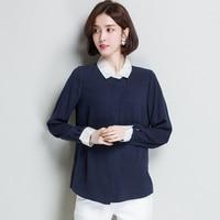 2XL Brand 100% Silk Shirts 2019 Spring Summer Women Blouses New Loose Contrast Lapel Silk Blouses Commuter OL Shirts Silk Tops
