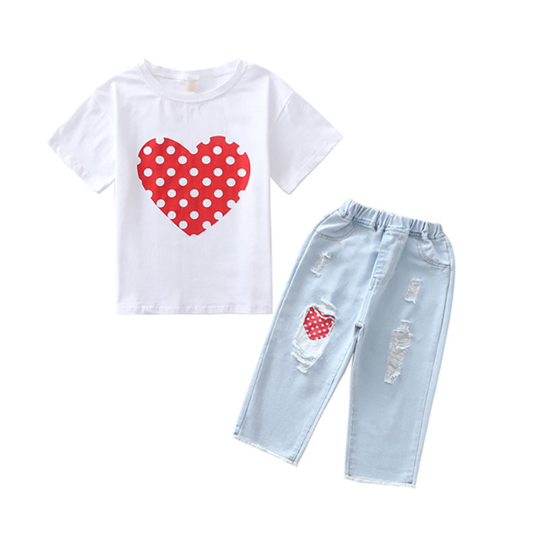 2019 new girls set Europe and America heart 100% cotton shirt + jeans childrens suit wear printed jeans2019 new girls set Europe and America heart 100% cotton shirt + jeans childrens suit wear printed jeans