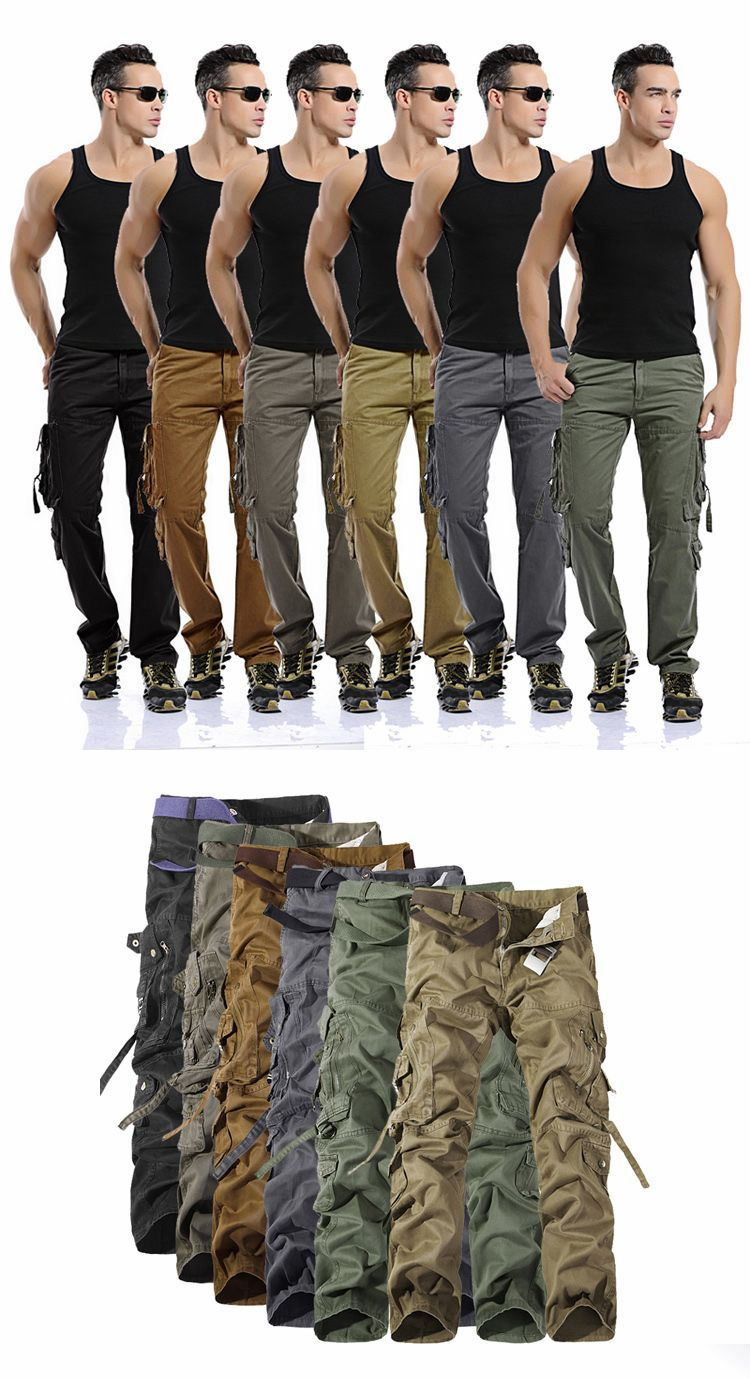 MIXCUBIC 2019 spring Autumn army tactical pants Multi-pocket washing loose army green cargo pants men casual Tooling pants 28-42 3