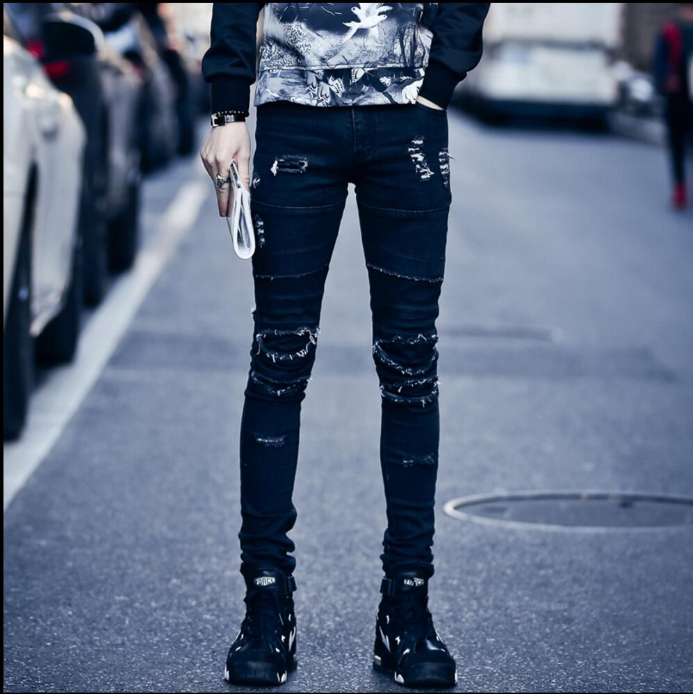Vintage Jeans Heavy Stereo Flower Floral Stickers Elastic Denim Pants Casual Trousers,Sky Blue,S